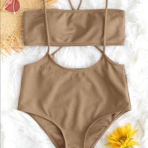 tan bandeau and high waisted bikini set